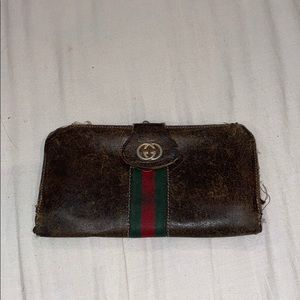Vintage Gucci wallet with coin pouch brown